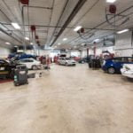 Interior shot of garage with cars